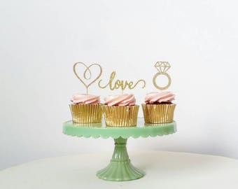 Set of 12 Engagement cupcake toppers, heart, love, diamond ring, bridal shower, engagement party, anniversary, wedding
