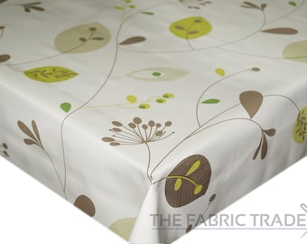 Green Leaves & Stems PVC Vinyl Tablecloth Dining Kitchen Table Protector Cover