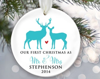 Our First Christmas as Mr & Mrs Personalized Deer Christmas Ornament Christmas Gift Newlywed Ornament Wedding Ornament Design your own OR247