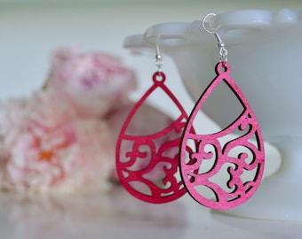 Laser Cut Earrings, Wooden Earrings, Pink Earrings, Popular Earrings, Boho Earrings, Summer Earrings, Pink Wooden Earrings, Wood Earrings