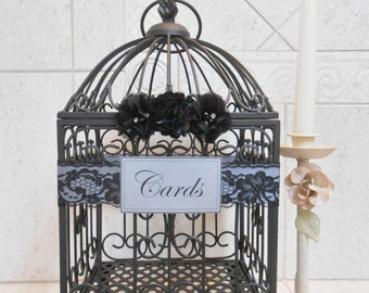 Black and Gray Wedding Birdcage Card Holder | Wedding Card Box | Black Wedding Decoration | Gothic Wedding Decor [Ready To Ship]