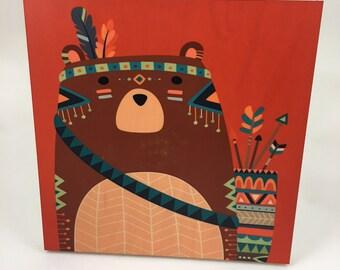 Bear Tribal Wood Wall Art, Cabin or Nursery Decor, Colorful Graphic Art print on wood, woodland animals, Bear