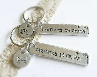Partners in crime keychain, Sister keyring, Gift for best friend, Step sister present, keyring, Personalized BFF gift,  gift, Valentines