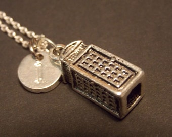 Personalized Charm Necklace- Silver Telephone Booth