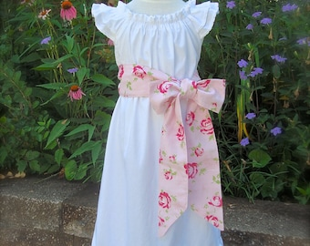 Basic Sister Dress Floral Sash Essential Summer Fall Girl   Size 3 months to 12  Choice of Color and Sleeve