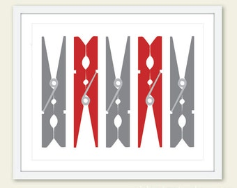 Clothespins Art Print - Laundry Room Print - Laundry Room Wall Art  - Laundry Room Decor - Modern Decor - Custom Colors - Aldari Art