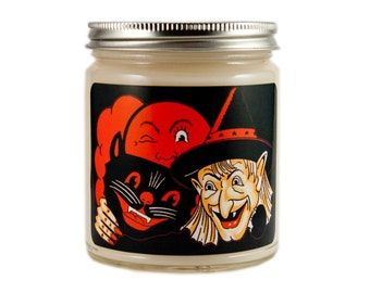 Halloween Candle, Scented Candle, Witch Candle, Container Candle, Soy Candle, Vintage Halloween, Halloween Decoration, Halloween Decor