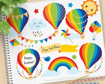 Over the Rainbow, Hot Air Balloons Clipart, bunting, Primary Colors, summer, new baby, Commercial Use, Vector clip art, SVG Cut Files