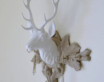 Deer head trophy, jewelry holder, Keychain, weathered grey and white shabby chic