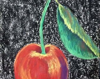 "Single cherry pastel drawing art 9""x12"""