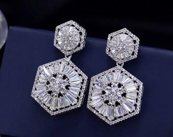 Floral Bridal earrings, Bridal post earrings, Wedding Earrings, Long Dangle Teardrop, Bridal Jewelry,  Cubic Zirconia Drops E0156