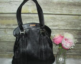 Vntg Zaragovia Black Colombian Leather Boho Purse Shoulder Bag Tote Hobo