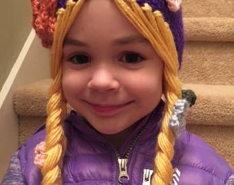 Rapunzel Princess hat with braids