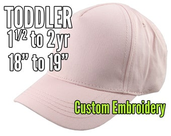 Toddler Size 1.5 to 2yr Custom Personalized Embroidery Decoration on a Pink Soft Structured Baseball Cap +Options to Personalize Side +Back