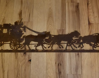 Stage Coach metal wall art. Country western,Americana.