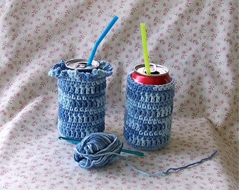 Faded Denim Crocheted Can and Bottle Cozy