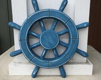 Rustic Light Blue Nautical Ship Wheel - Decorative ship's wheel - Wood ship wheel - Vintage ship wheel, nautical decor, vintage decor - 025