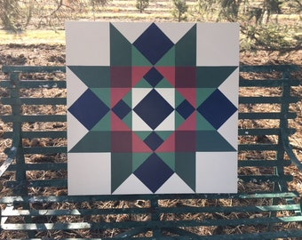 2' x 2' Barn Quilt, Blue Greens Reds