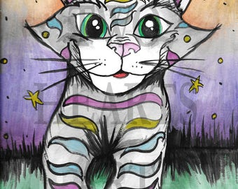 Cartoon Cat Art, Giclée Art Print, Wall Hanging, Art Decor, wall art, home decor, girls room, kids room art, cute wall art, cat print