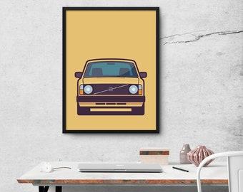 Volvo 240 Car Poster Art Print