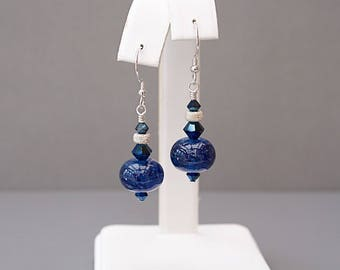 Navy Blue Earrings with Lampwork Glass Beads - Lampwork Earrings - Anniversary Gifts for Women - Mother's Day Gift