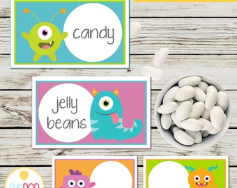 LITTLE MONSTER BIRTHDAY * Buffet Tent Cards * First Birthday * Party Decorations * Digital Printable * Instant Download