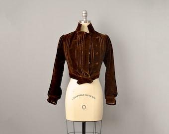 1900s Jacket // Edwardian Chestnut Brown Silk Velvet Jacket // S-XS