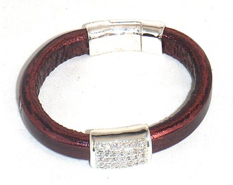 Metallic Burgundy Leather with Rhinestone Paved Pewter Magnetic Clasp
