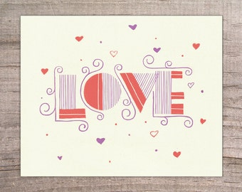 LOVE Typography Print 8x10