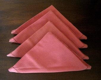 4 Pink Napkins Hemmed, Dusty Rose Colored, Set of 4 Vintage Napkins, Soft 100% Cotton Vintage Cloth Napkins