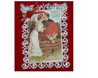 Vintage Style Victorian Valentines Day Card Tree Ornament - To My Valentine - Valentines Day - Ornament - Party Favor - Gift - Keepsake