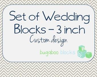 Wedding Mr. & Mrs. Blocks - Set of 3 (3 inch blocks) - Head Sweetheart Table Decoration - Centerpiece Accent