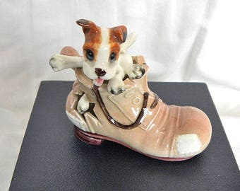 Dog in Boot Ornament - 1960's Jack Russell Puppy in Boot