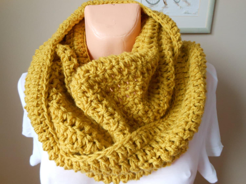 Crochet infinity scarf cowl neck warmer mustard yellow zoom bankloansurffo Choice Image
