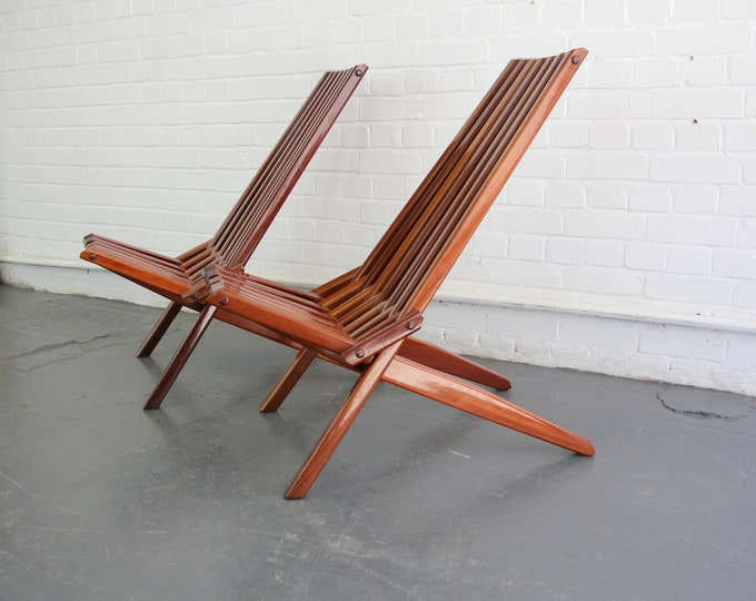 Mid Century French Folding Teak Chairs