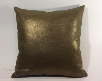 Bronze Metallic  Decorative Pillow Cover - Medium Weight Linen- Invisible Zipper Closure