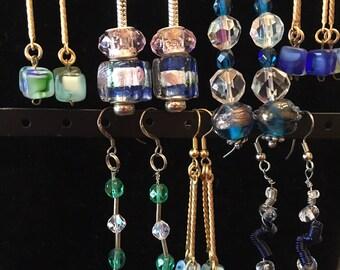 Earrings.Variety of Blue and Green Drop Earrings.BOHO.Handmade.Gift Box.