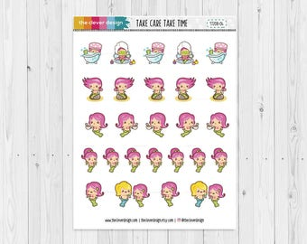 Mermaid Planner Stickers | Self Care Planner Stickers (17208-04)