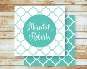 Personalized Calling Cards / Gift Tags / Quatrefoil Tiles