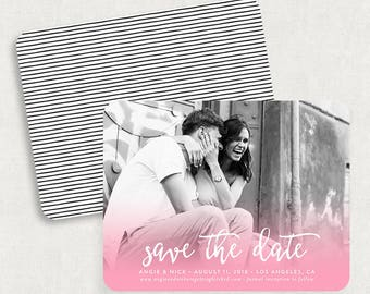 Pink Save the Dates, Watercolor Save the Dates, Watercolor Save the Date Magnets, Photo Save the Date Magnets, Printable Save the Dates, PDF