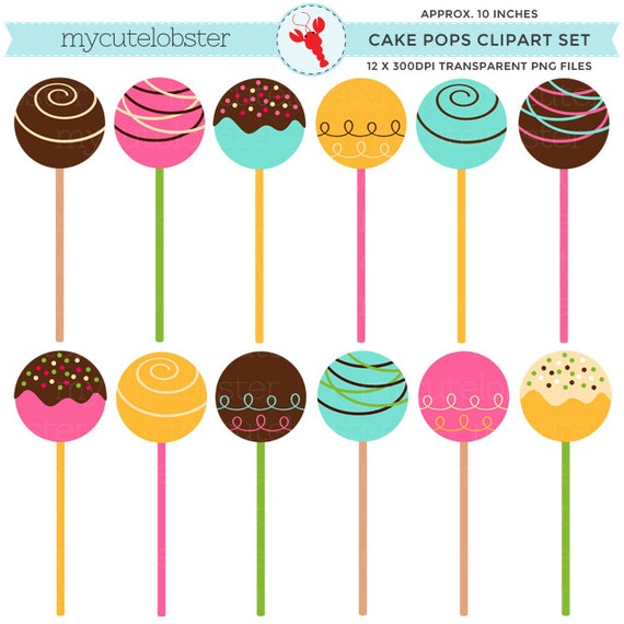 cake pops clipart set clip art set of cake cake balls cake. Black Bedroom Furniture Sets. Home Design Ideas