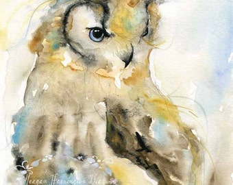 Owl Painting - Winter Owl - Owl Watercolor - Wildlife Painting