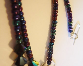 7 inch Iridescent Very LONG bead earrings