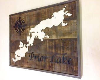 Prior Lake Wood Map Sign