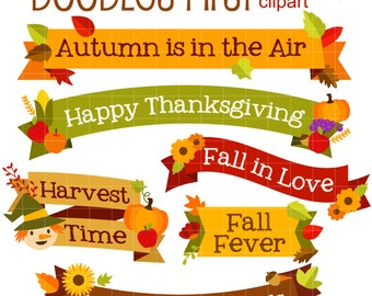 Autumn Quote Banners Clip Art for Scrapbooking Card Making Cupcake Toppers Paper Crafts