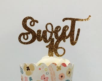 12ct Sweet 16 cupcake topper, happy sweet 16 cupcake topper, sixteen birthday cupcake topper