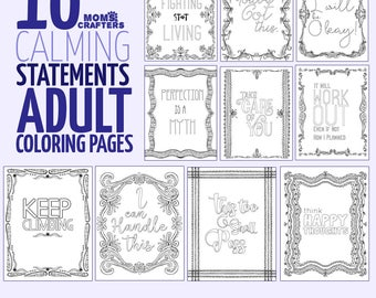 10 Printable Motivating Coloring Pages for adults - Anti Stress Coloring Book -  PDF instant digital download