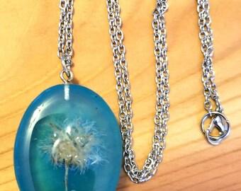 Mini dandelion puff necklace