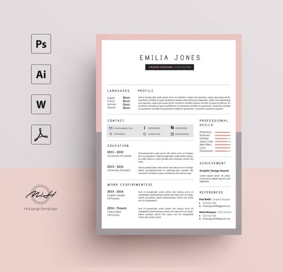 pink gray resume template    cv template    free cover letter