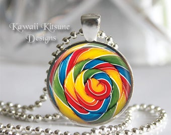 Lollipop Candy Necklace, Candy Carnival Jewelry, Rainbow Lollipop Swirl Pendant, Carnival Jewelry Sweet Candy Necklace, Lollipop Necklace